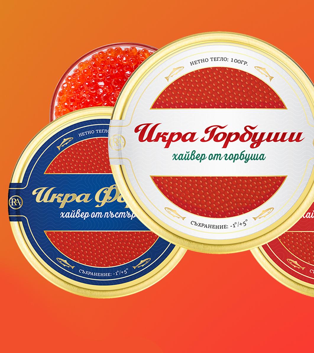 графичен дизайн на етикет за червен хайвер