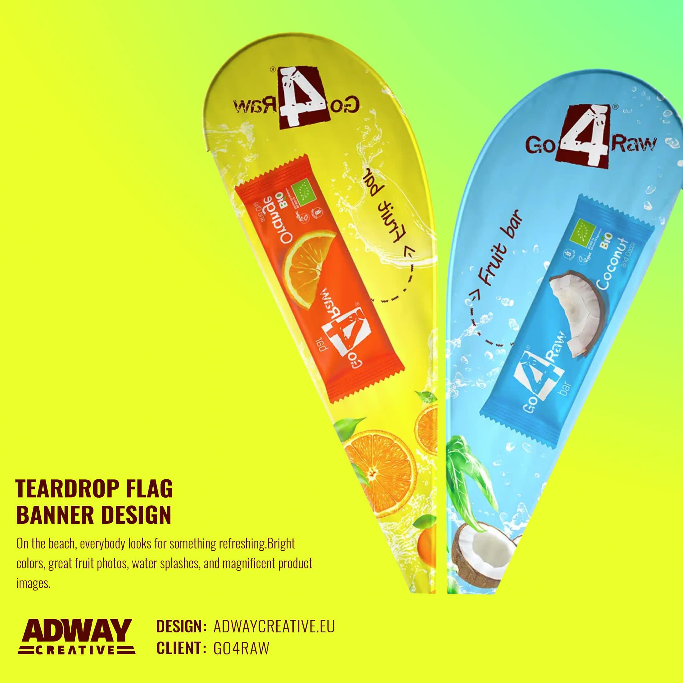 Дизайн на рекламен плажен флаг - GO4RAW
