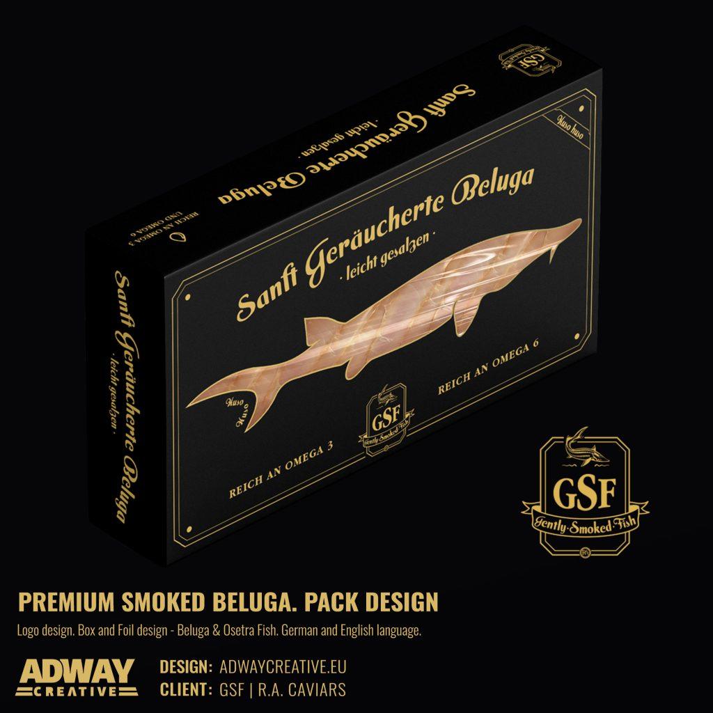 дизайн на опаковка за пушена риба - Белуга