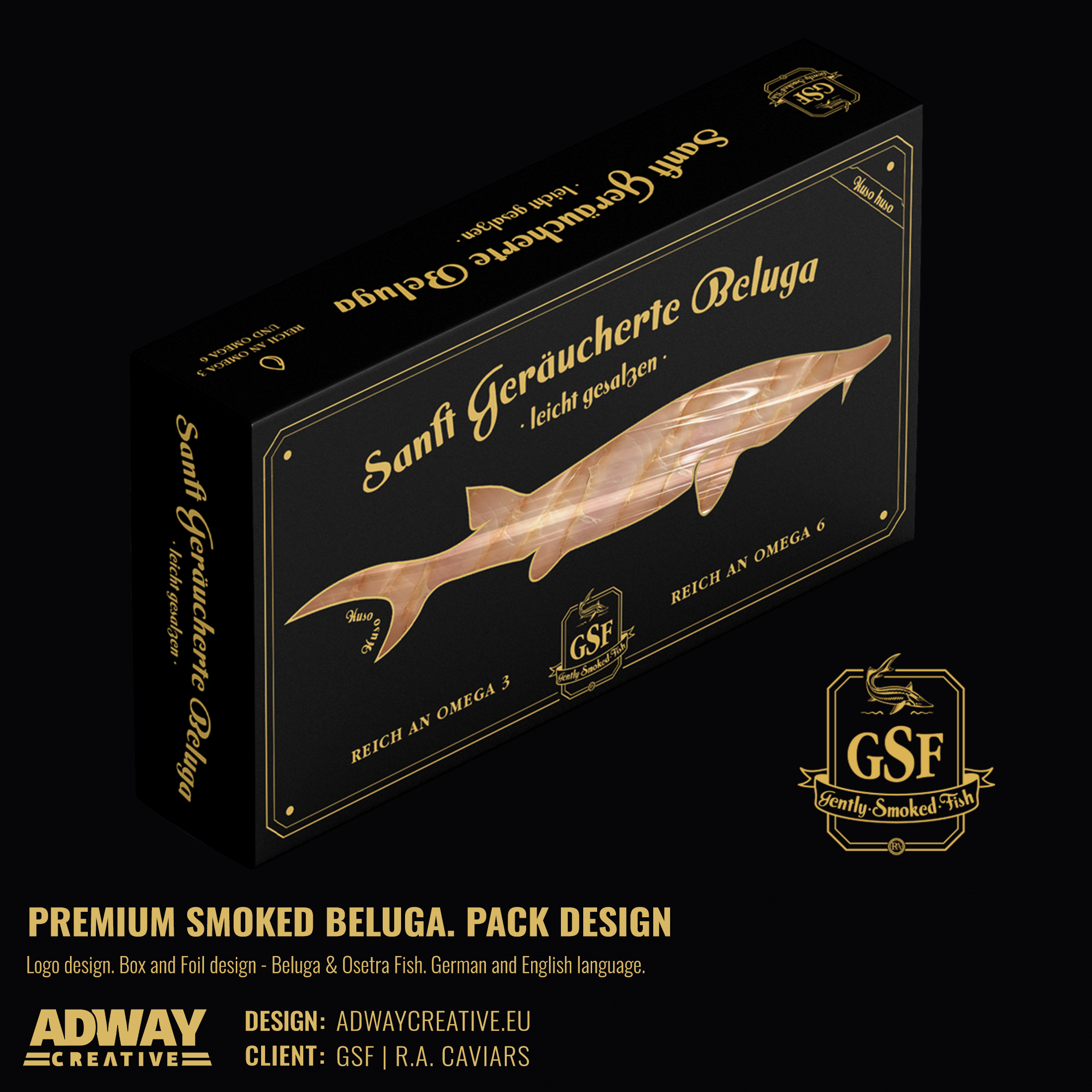 Дизайн на опаковка за пушена риба - Белуга - R.A. Caviars